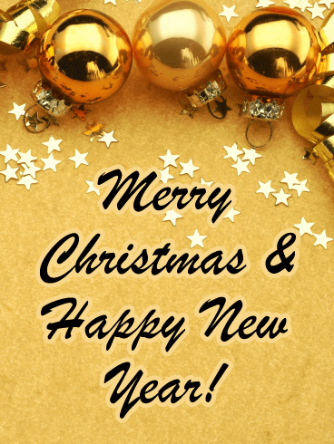 Shiny Gold Christmas Decor - Merry Christmas and Happy New Year Card