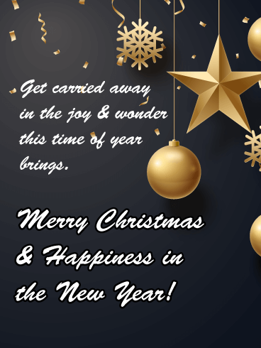 Gold Christmas Decorations - Merry Christmas and Happy New Year Card
