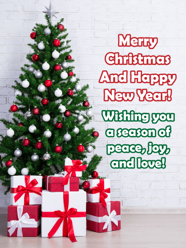 Christmas Peace, Joy, Love - Merry Christmas and Happy New Year Card