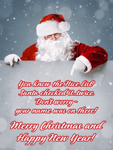 Santa's List - Merry Christmas Happy New Year Card
