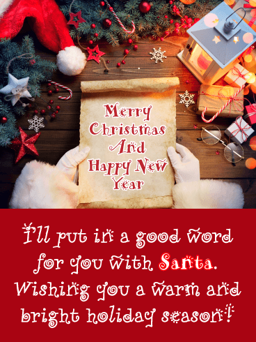 Santa's Scroll - Merry Christmas Happy New Year Card