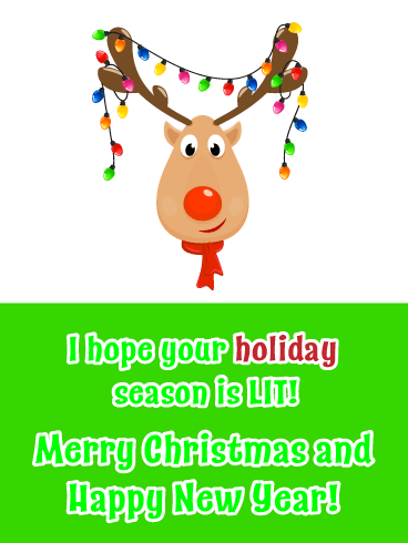 Lit Rudolph - Merry Christmas Happy New Year Card