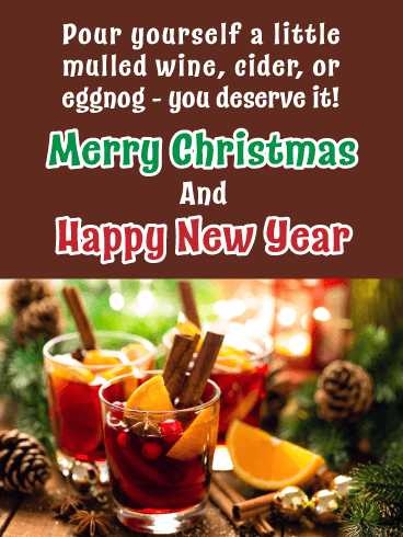 Holiday Beverages - Merry Christmas Happy New Year Card