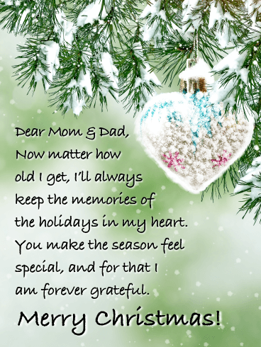 Forever Grateful - Merry Christmas Card for Mom & Dad