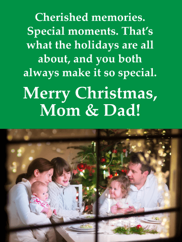 Cherished Memories - Merry Christmas Card for Mom & Dad