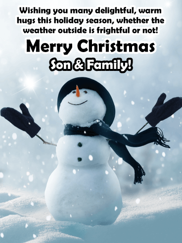 Warm Hugs - Merry Christmas Card for Son & Family