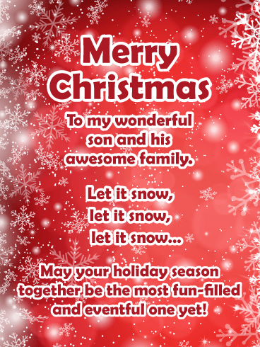 Let It Snow - Merry Christmas Card for Son & Family