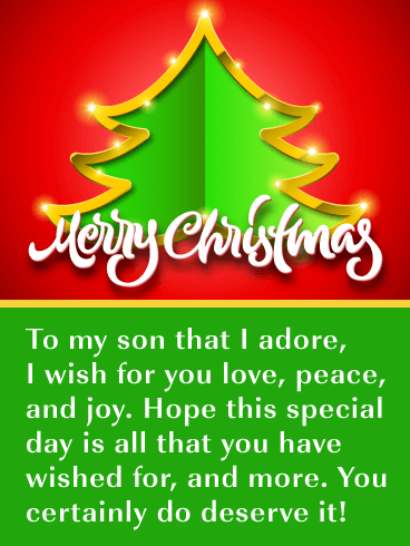 Love, Peace, Joy - Merry Christmas Card for Son