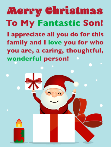 I Appreciate You! - Merry Christmas Card for Son