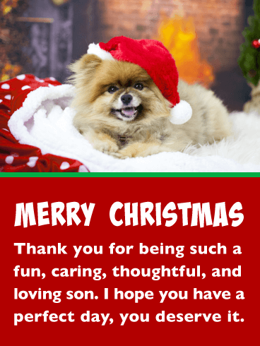 Festive Puppy - Merry Christmas Card for Son
