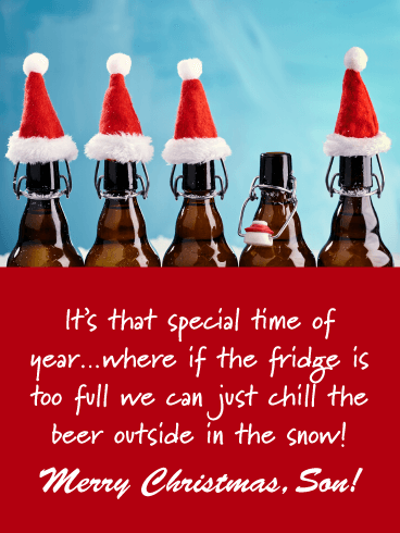 Cold Beer - Merry Christmas Card for Son