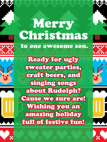 Ugly Sweater Party - Merry Christmas Card for Son