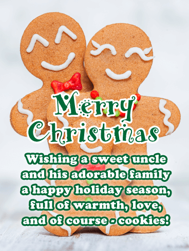 Gingerbread Family - Merry Christmas Card for Uncle and His Family