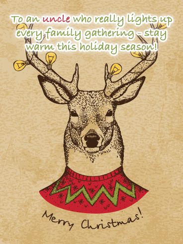 Lightbulb Reindeer - Merry Christmas Card for Uncle