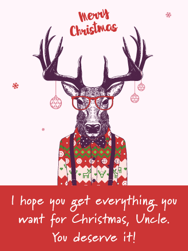 Nerdy Reindeer - Merry Christmas Wish Card for Uncle