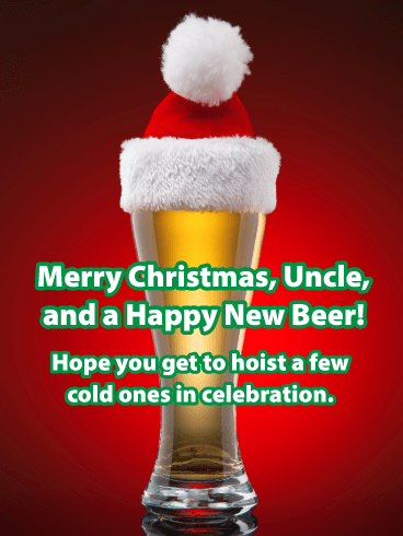 Santa Beer - Merry Christmas Card for Uncle