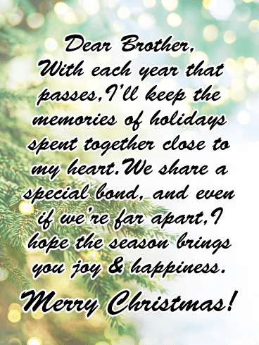 Joy & Happiness - Merry Christmas Card for Brother