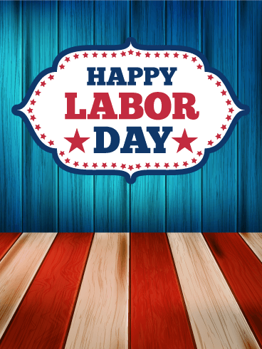 Wooden Designed Happy Labor Day Card