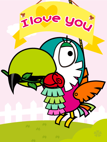 Parrot Piñata Love Card