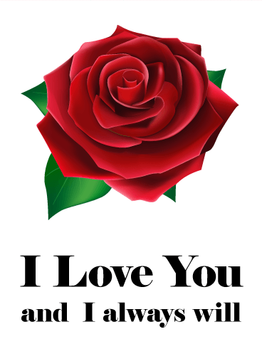 I Love You Red Rose Card Birthday Greeting Cards By Davia