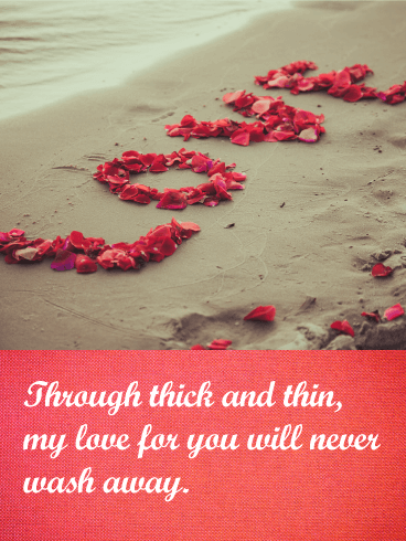 My Love Will Never Wash Away - Love Card