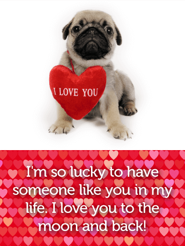 Adorable Pug Love Card