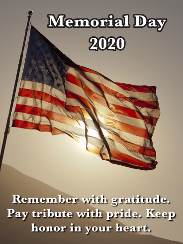 The American Flag and Sunlight - Happy Memorial Day Card