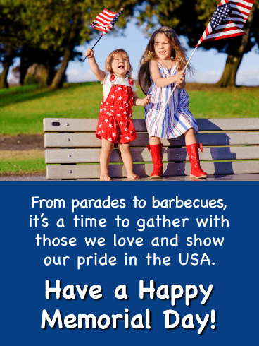 Two Adorable Little Patriots - Happy Memorial Day Card
