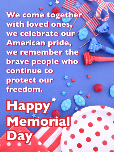 Festively Patriotic Background of American Flags - Happy Memorial Day Card
