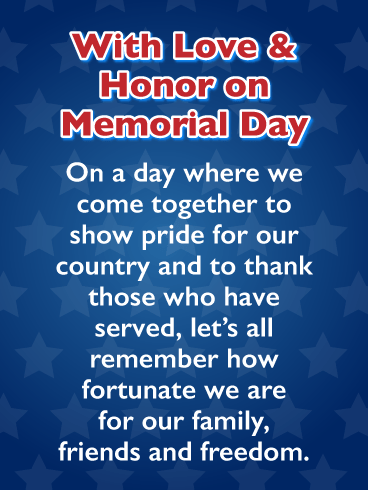 Memorial Day Stars - Happy Memorial Day Card