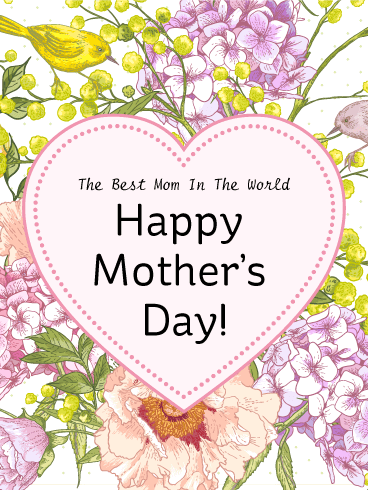 Heart & Flower Happy Mother's Day Card