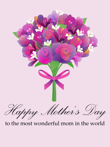 Flower Bouquet Happy Mothers Day Card Birthday Greeting Cards