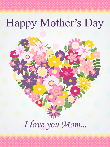Flower Heart Hy Mother S Day Card