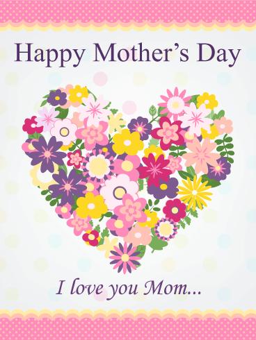 Flower heart happy mothers day card birthday greeting cards by flower heart happy mothers day card m4hsunfo
