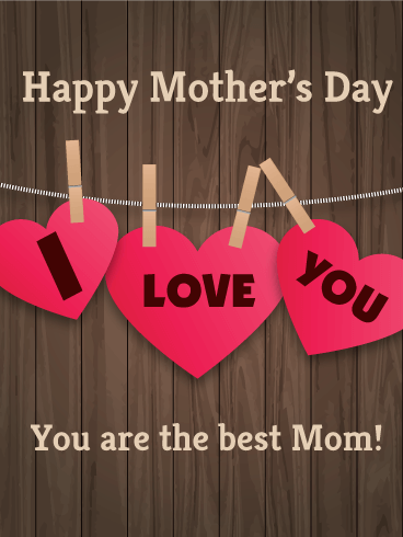 Wooden Design Happy Mother's Day Card