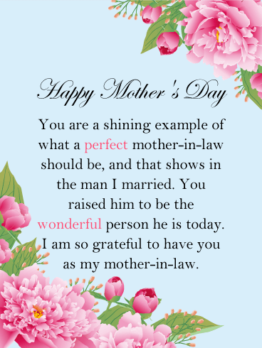 I am Grateful - Happy Mother's Day Card for Mother-In-Law