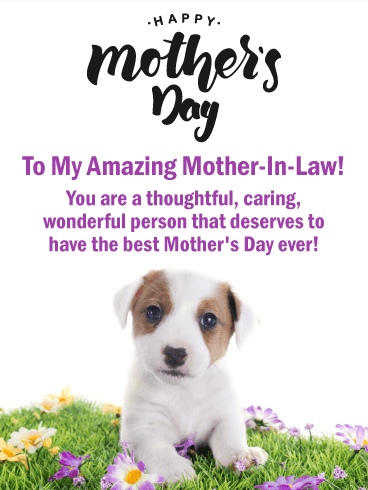 Sweet Puppy Happy Mother's Day Card for Mother-In-Law