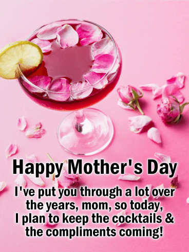 Pink Cocktail Funny Mother's Day Card
