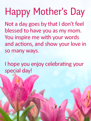 Enjoy your Special Day! Happy Mother's Day Card