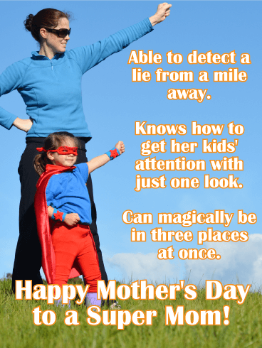 To a Super Mom - Happy Mother's Day Card