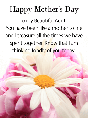 I Am Thinking Of You Happy Mothers Day Card For Aunt Birthday