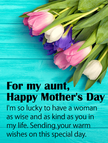 colorful tulip happy mother s day card for aunt birthday