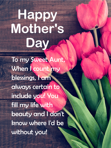 to my sweet aunt happy mother s day card birthday greeting