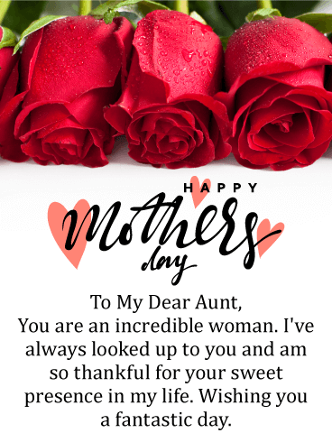 to an incredible aunt happy mother s day card birthday