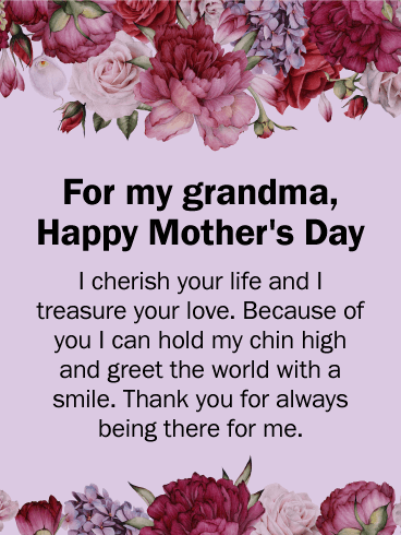 I Cherish Your Life - Happy Mother's Day Card for Grandmother