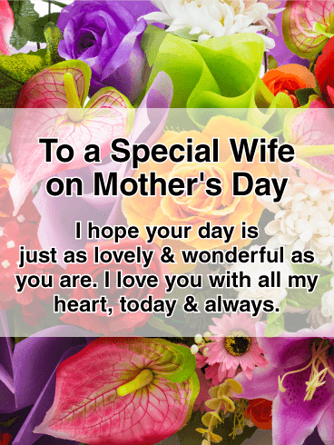Vivid Flower Happy Mother's Day Card for Wife
