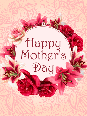 Flower Wreath Happy Mother's Day Card