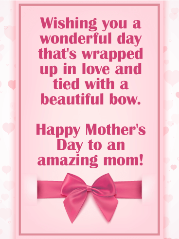 Beautiful Bow Happy Mother's Day Card