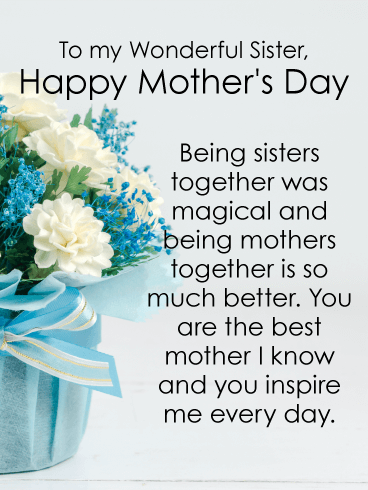 You inspire me happy mothers day card for sister birthday happy mothers day card for sister m4hsunfo