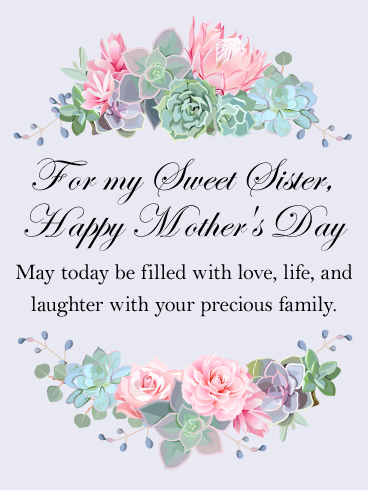 For My Sweet Sister Happy Mothers Day Card Birthday Greeting